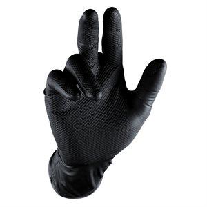 Grippaz Nitrile Gloves - Black, (25 Pairs)