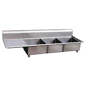 Stainless Steel Three Tub Sink - Left Drain Board