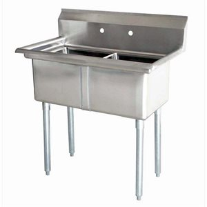 Stainless Steel Two Tub Sink - No Drain Board