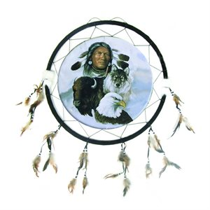 """24"""" Dream Catcher - Man with Wolf & Eagle"""
