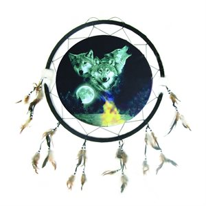 """24"""" Dream Catcher - 3 Wolves With Moon"""
