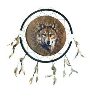 "24"" Dream Catcher - Single Wolf"