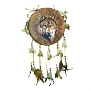 "9"" Decorative Dream Catcher Drums - Wolf Head"