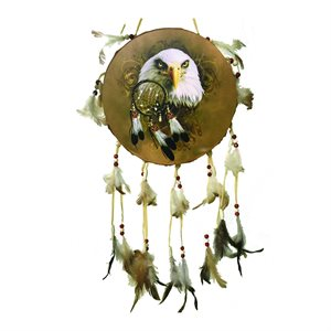"9"" Decorative Dream Catcher Drums - Eagle Head"