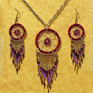 Earring And Necklace Set - Red