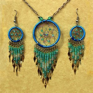 Earring And Necklace Set - Blue