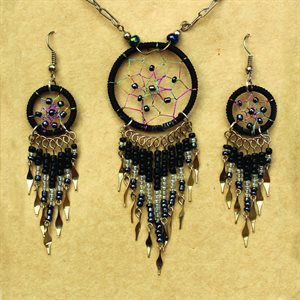 Earring And Necklace Set - Black