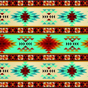 Tribal Stripe - Turquoise/Rust