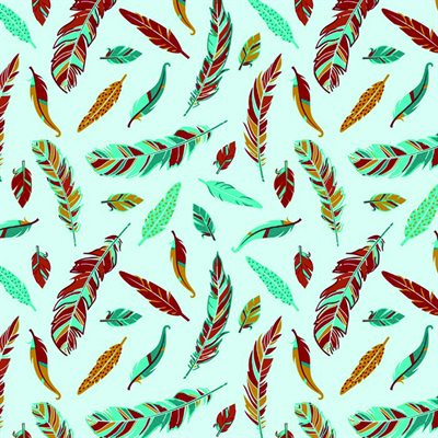 Feathers - Turquoise/Multi