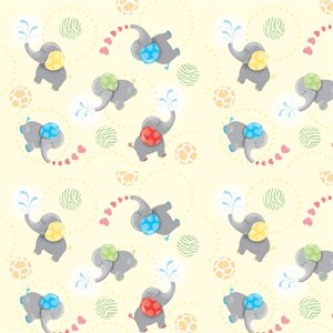Noah's Ark Flannel - Elephants - Yellow
