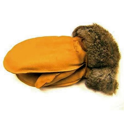 Deer Leather Mitts W/Fur Trim - Tan (X-Small)