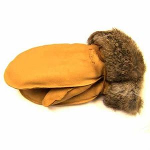 Deer Leather Mitts W/Fur Trim - Tan
