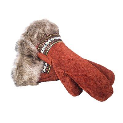 Bison Suede Guantlet - Crimson Day W/Fur Trim (Large)