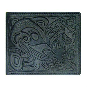 Mens Wallet - Bear with Eagle & Salmon