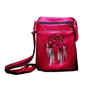 Pocket String Purse W/ Dream Catcher - Red