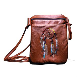 Pocket String Purse W/ Dream Catcher - Saddle