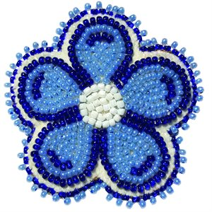 """Beaded Barrette, 2"""" Flower Pearl Blue/Blue"""