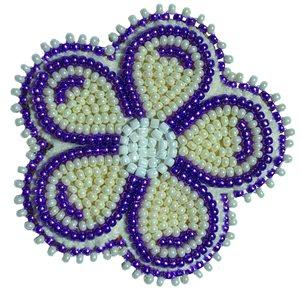 """Beaded Barrette, 2"""" Flower Pearl White/Purple"""
