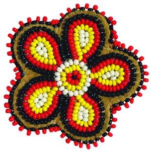 """Beaded Barrette, 2"""" Flower Red/Black/Yel"""
