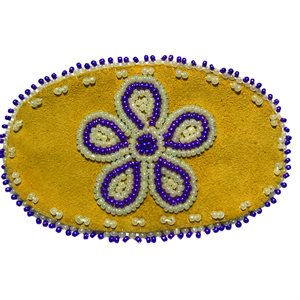 """Beaded Barrette, 4"""" Oval Flower Pearl White and Purple"""