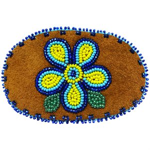 """Beaded Barrette, 4"""" Oval Flower Yellow and Blue"""