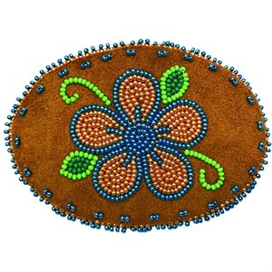 """Beaded Barrette, 4"""" Oval Flower Metallic Blue and Gold"""