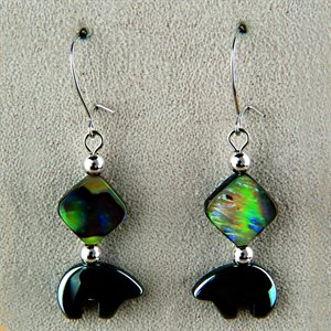 Black Bear (Carved) Earrings