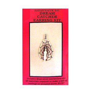 Dream Catcher Earring Kits - Silver Teardrop W/Feather Centre