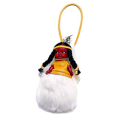 "4"" Indian Doll With Fur Pouch"