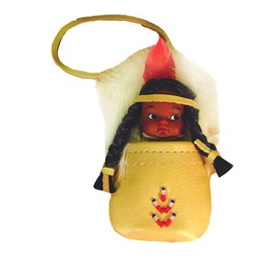 "4"" Indian Doll With Leather Pouch"