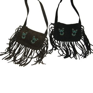Black Fringed Suede Purse With Turquoise Beading