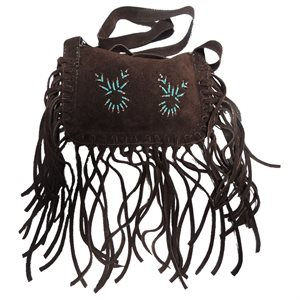 Brown  Fringed Suede Purse With Turquoise Beading