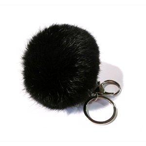 Rabbit pom-pom Key Chain - Black