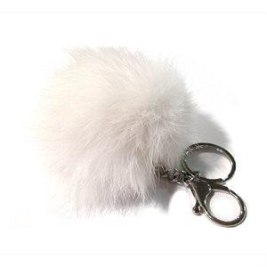 Rabbit Pom-Pom Key Chain - White