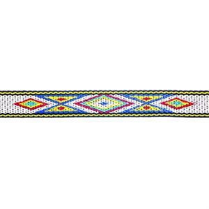 Woven Braid Hitched Trim - Yellow/White/Blue