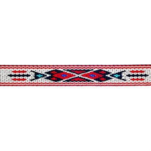 Woven Braid Hitched Trim - White/Red