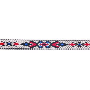 Woven Braid Hitched Trim - White/Red/Blue