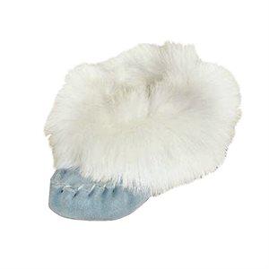 Suede Moccasins W/Fur Trim - Blue - Infant