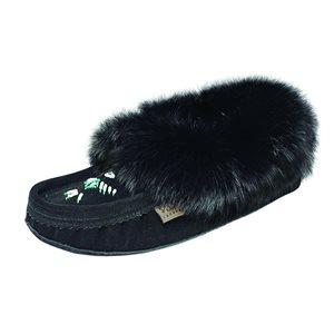 Ladies Beaded Suede Moccasins With Fur - Black (Ladies)