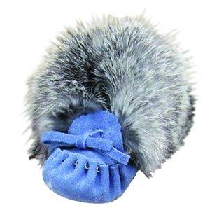 Infant Moccasins Suede (with fur) - Sky Blue