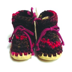 Baby Wool Moccasins - Multi Red