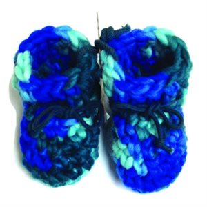 Newborn Wool Moccasins - Multi Blue