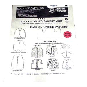 Adult's One Piece Easy Vest Pattern