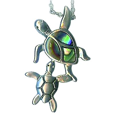 Pendant - Abalone 2 Turtles