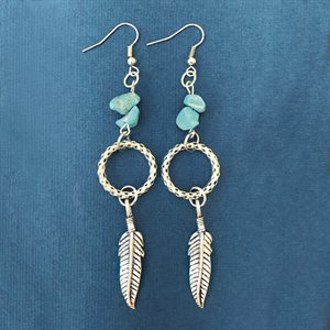 Silver Earings With Rocks And Feathers