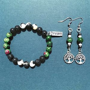 Silver Earing And Bracelet Set With Lava Beads