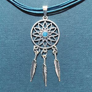Turquoise Corded Necklace With Dreamcatcher