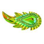 Sew-On Piikki Stones (10 Pieces) 17 x 36 Leaf Lime