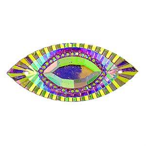Sew-On Piikki Stones (10 Pieces) 18 x 40 Navette Pink
