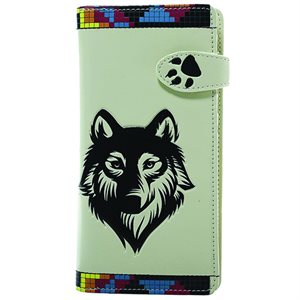 Ladies Wallet - Native Wolf - Beige